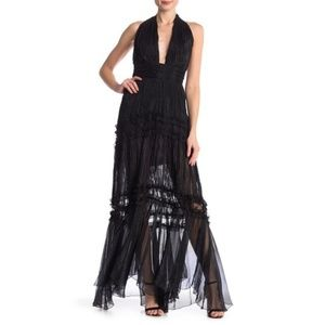 Meghan LA Black Halter Lace Maxi Dress Size Medium